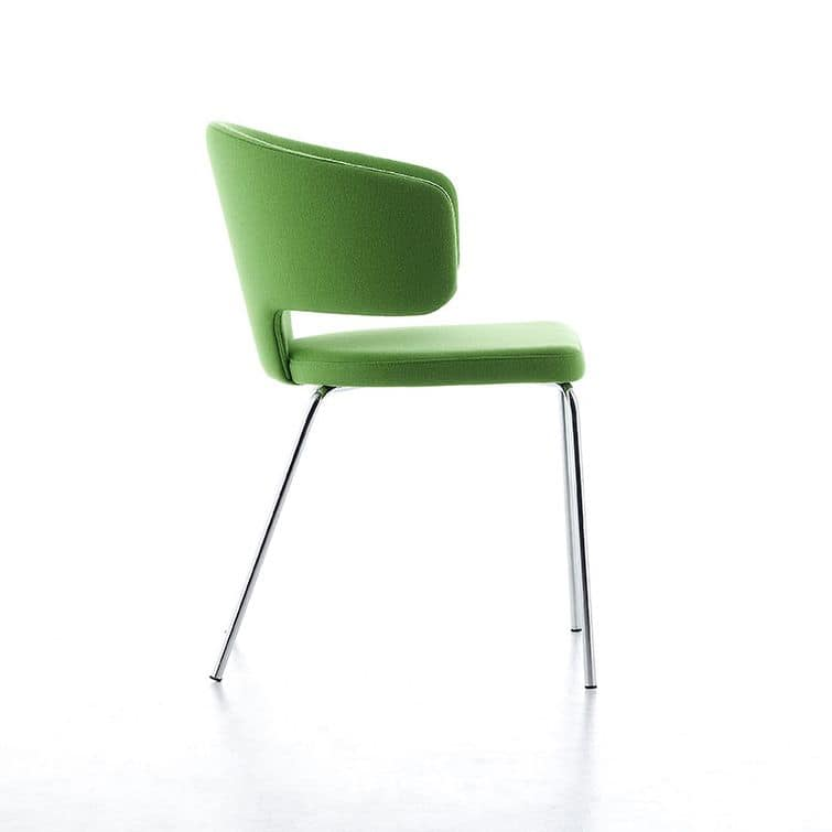Pretty 4L, Padded chair with armrests, 4 legs in steel, fireproof