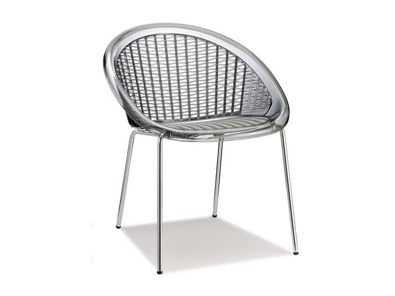 Saint Tropez 4 legs, Chair with transparent shell
