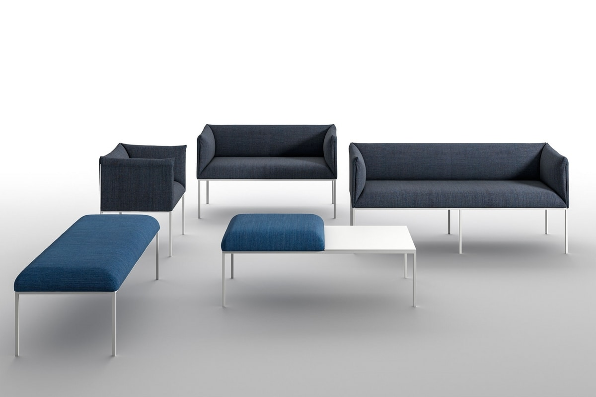 Sharp AR, Soft armchair for contract use, in painted steel