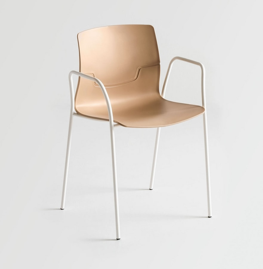 Slot TB, Chair with arms in metal, polymer shell