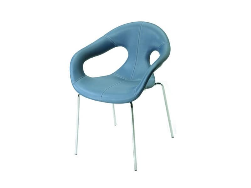 Sunny fabric 4L, Comfortable upholstered armchair, metal base, for indoor use