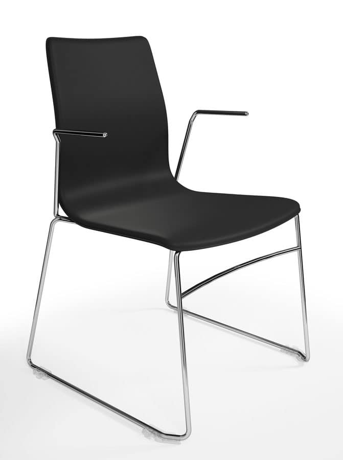 WOODY ELITE, Stackable chair that can be equipped with writing tablet, refined Italian design, for conference rooms and office