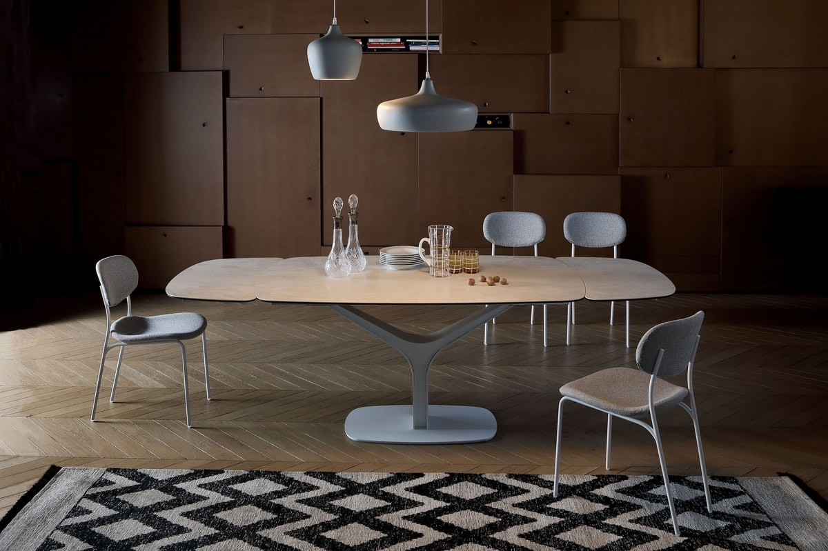 ARISTON, Extendable or fixed table, with glass or ceramic top