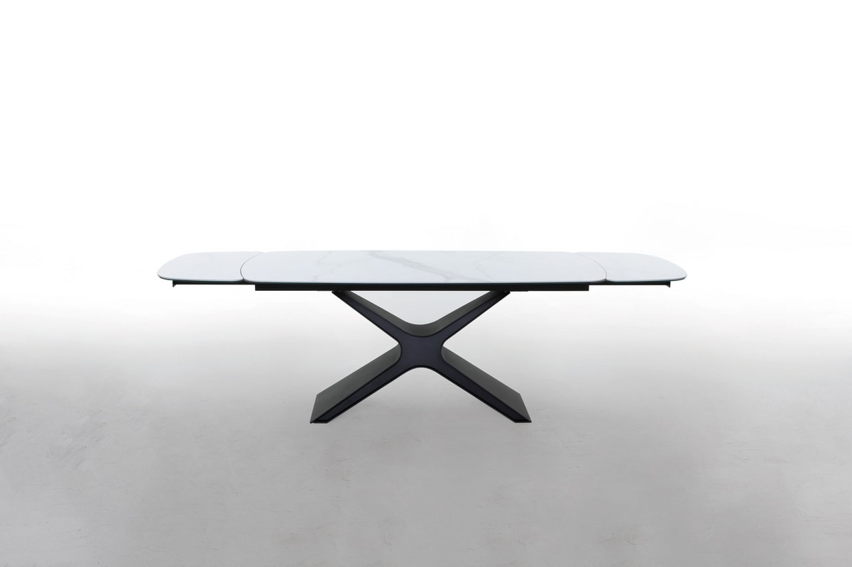CALLIOPE, Extendable or fixed table with glass or ceramic top