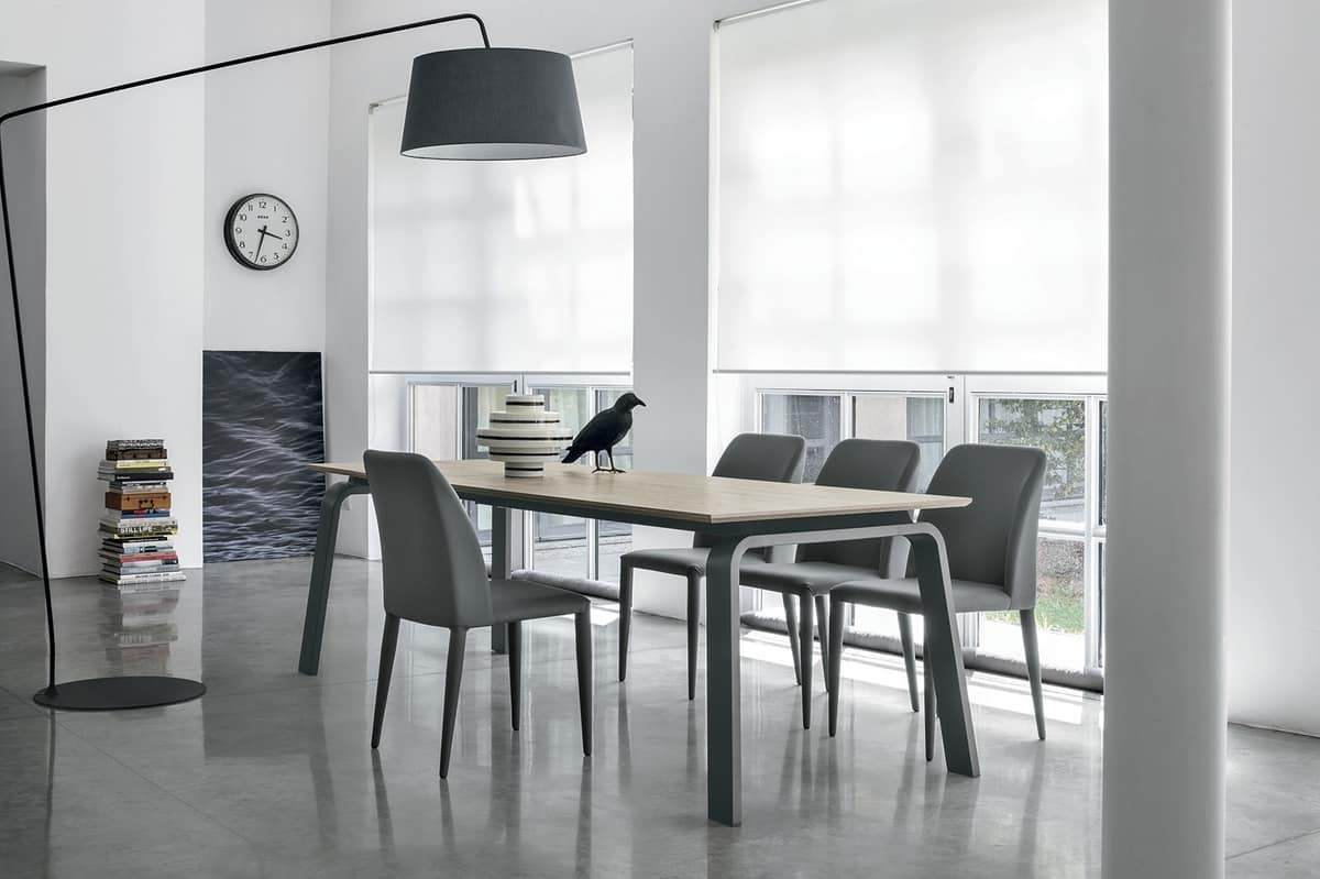 DEIMOS 160 TA190, Extendable table with modern design, available in various combinations of materials