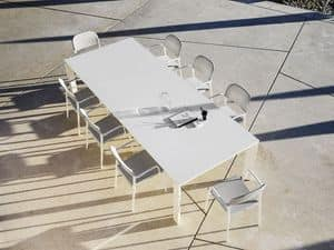 Dolmen, Extendable table, in aluminum, for terraces and dining rooms