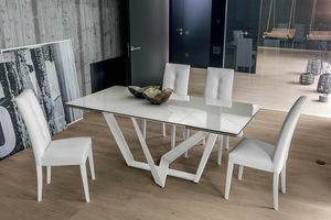 PRIAMO TA1A1, Table with top and extensions in porcelain stoneware