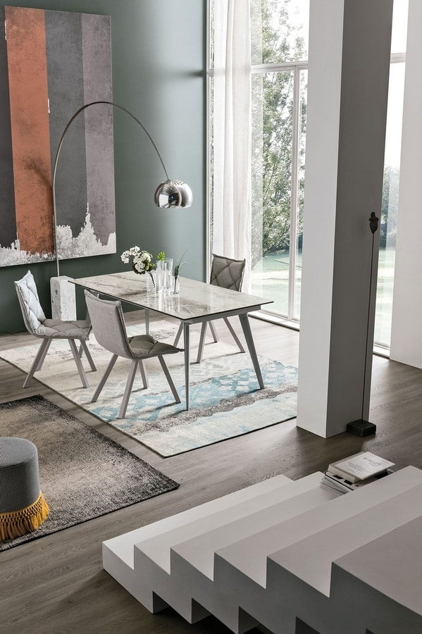 SYNCRO 150 TA1B4, Dining table with porcelain stoneware top