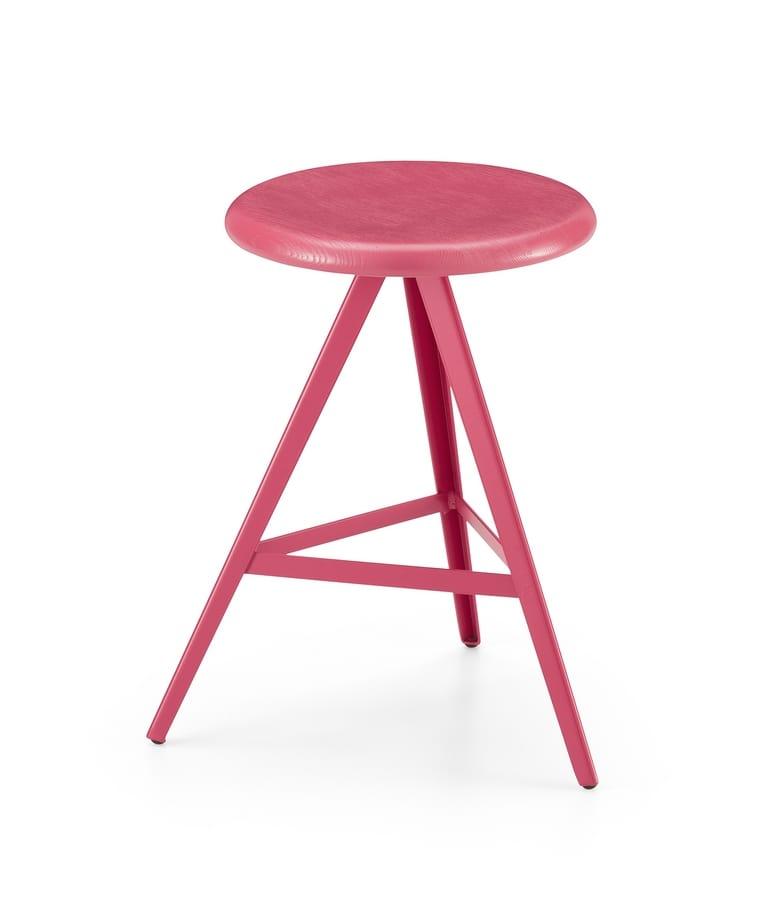 ART. 0122-H47-MET AKY, Low stool, height 47 cm