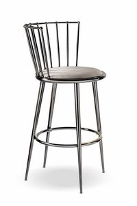 Aurora stool iron backrest, Elegant stool with round seat