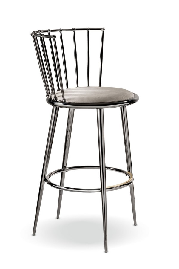 Aurora stool iron backrest, Elegant stool with round seat