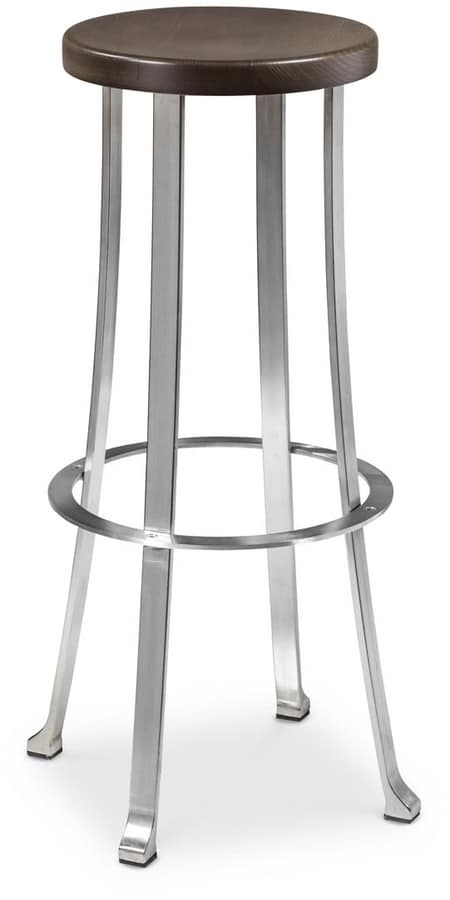 Divino stool, Steel stool with round seat