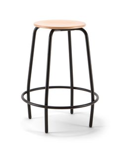 Mea Wood 04, Fixed stool with wooden seat