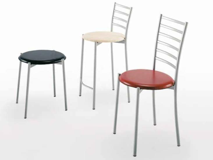 Nancy-A, Metal stool with padded seat