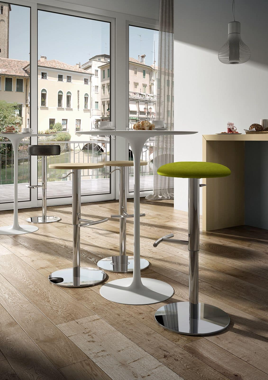 Punto, Metal stool with upholstered seat for bars and pubs