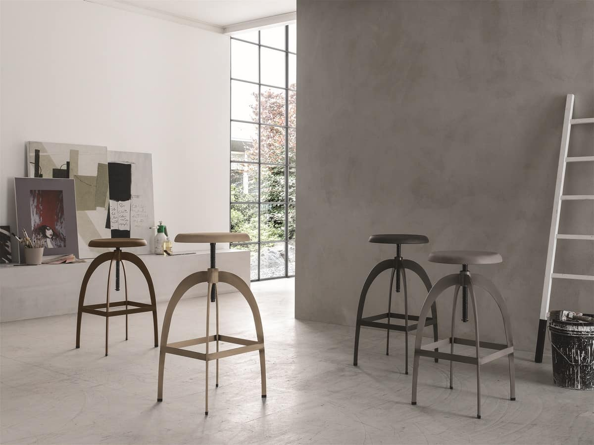 RIGA SG142, Metal adjustable stool with round seat