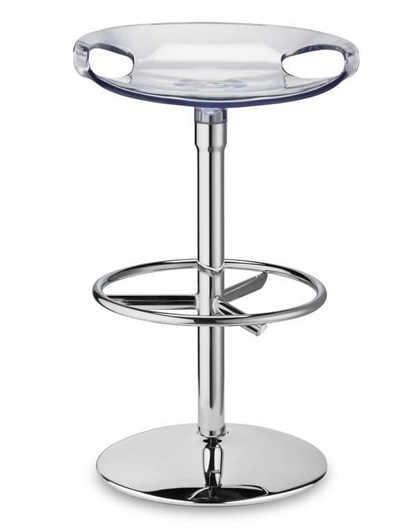 Zoe Twist, Swivel stool with fixed height, in steel and polycarbonate