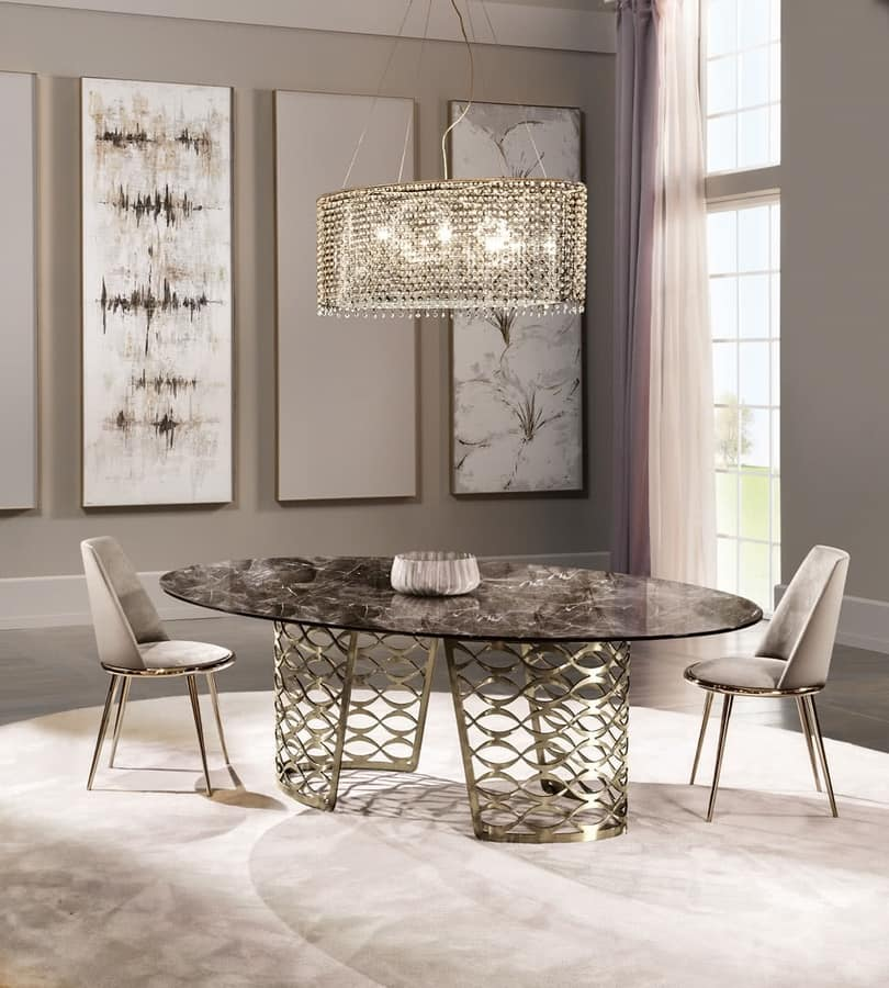 Isidoro table, Modern table with oval top
