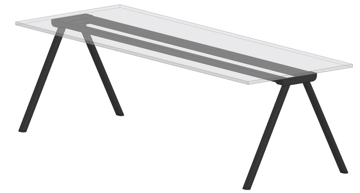 Surfy Hub 2027 oval - rectangle, Rectangular table, with metal legs