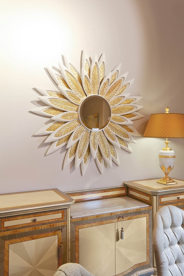 AGNES / mirror, Mirror with frame with petals