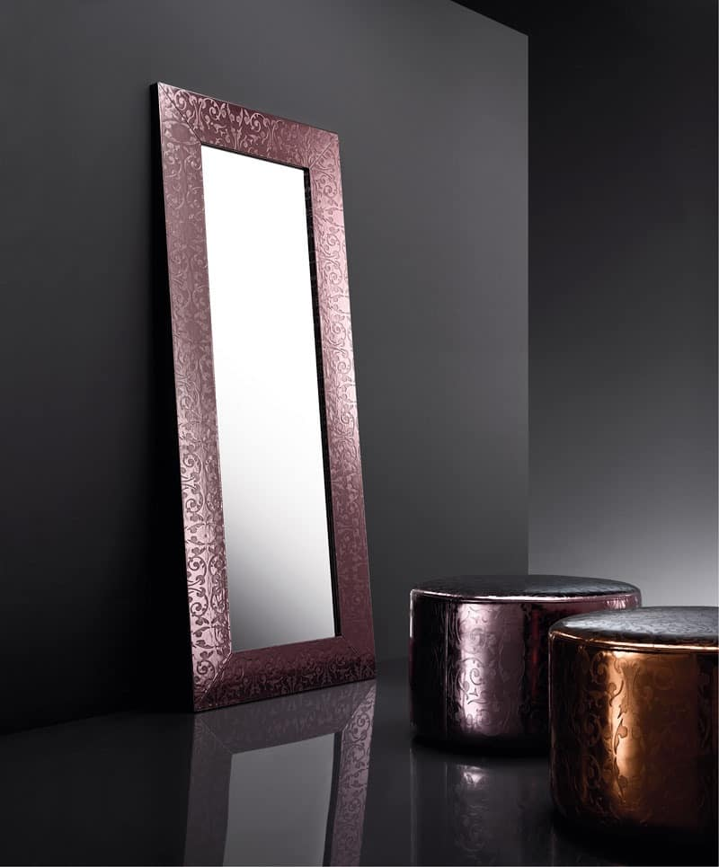 ART. 802 BEAUTY MIRROR, Mirror with frame in regenerated leather, various colors