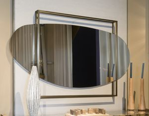 ATENA mirror GEA Collection, Rounded mirror, with square frame in brass