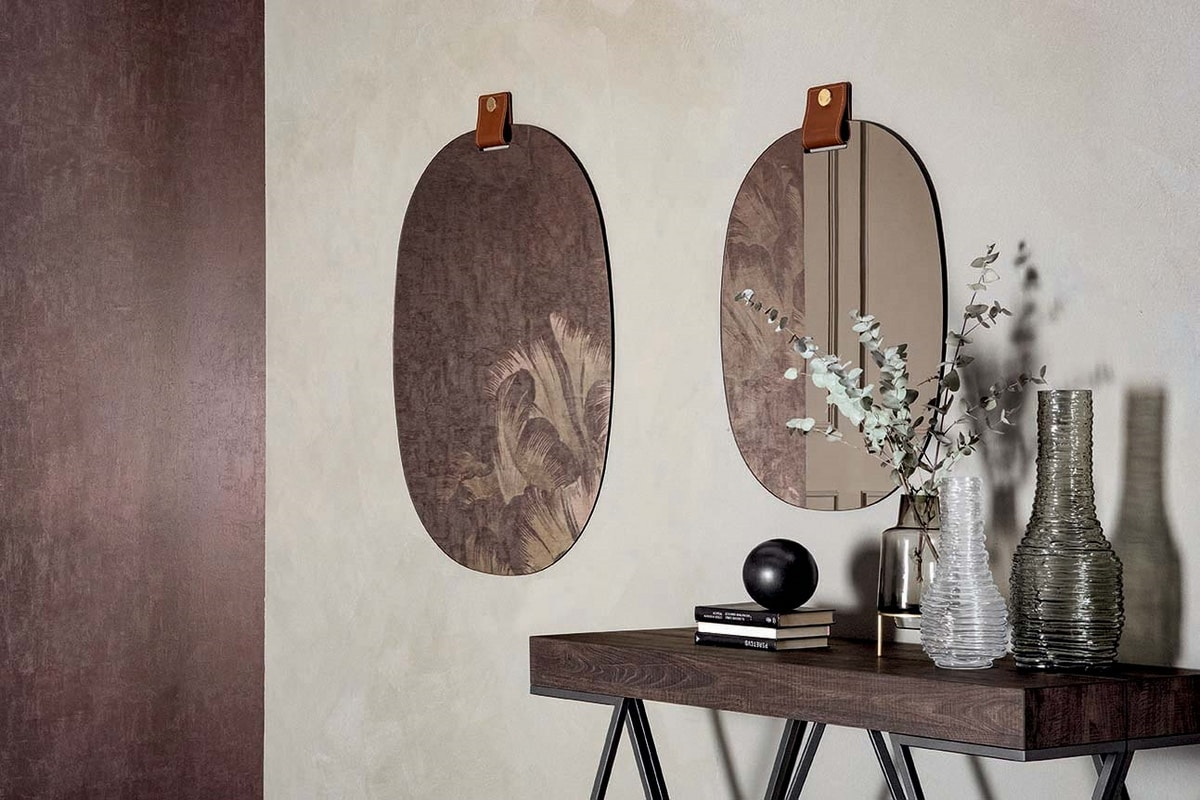 BELTY, Mirrors with leather buckle and gold detail