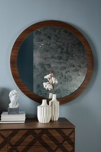 BRIGITTE, Round mirror, with wooden frame