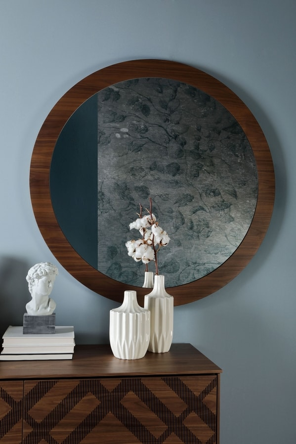 BRIGITTE, Round mirror, with wooden frame