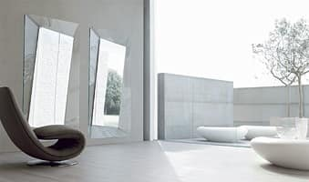 CALLAS, Squared mirror, in curved glass, for home