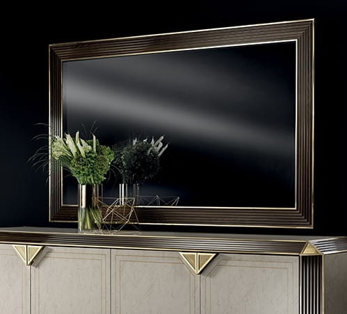 DIAMANTE big mirror, Large mirror with wooden frame