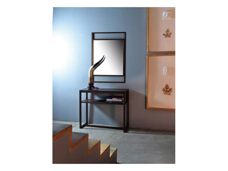 Dorian, Mirror with linear frame in solid wood