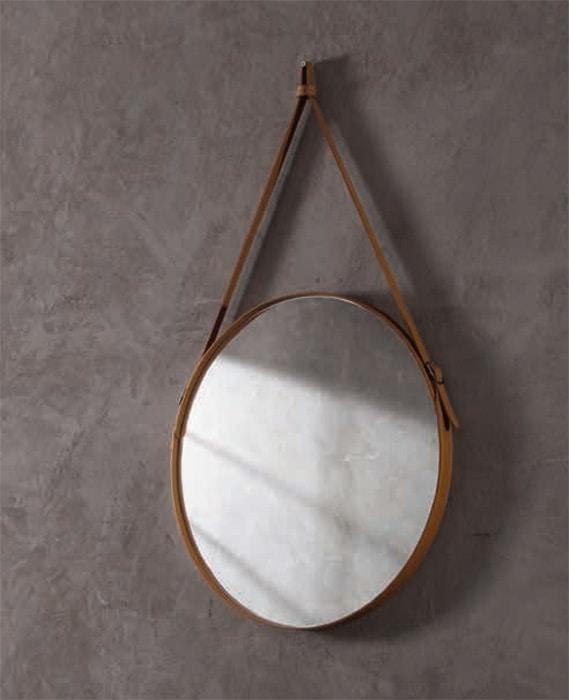 Effigies, Round wall mirror, with leather frame