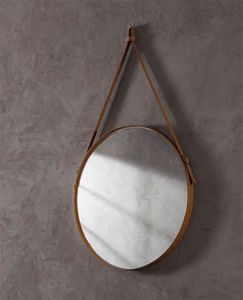Effigies, Round wall mirror, with leather frame