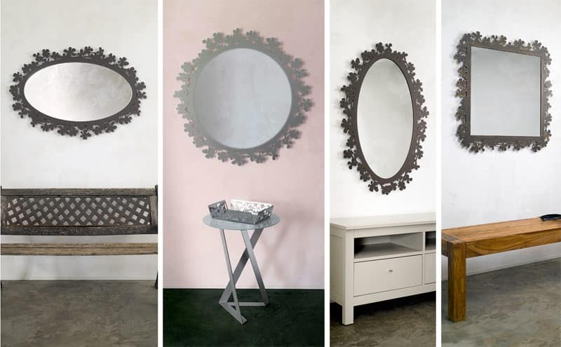 Flower mirror, Mirror in laser cut metal, various finishes