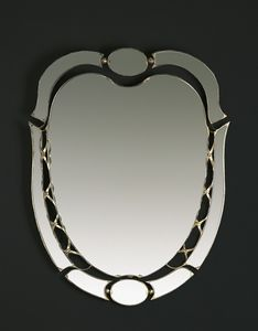 HF2007MI, Oval mirror with gold finishes
