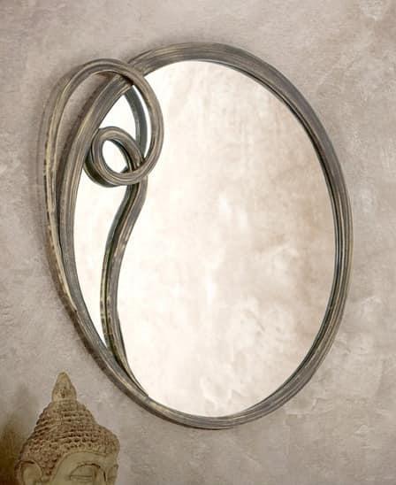 Azzurra mirror, Round mirror with metal frame