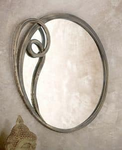 Azzurra mirror, Round mirror with metal frame