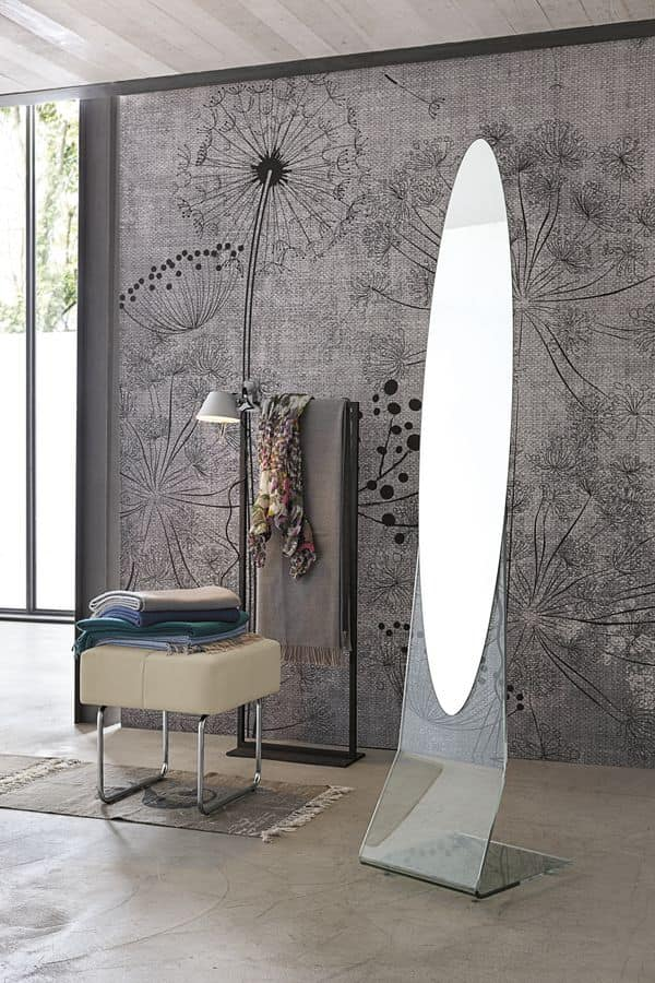NARCISO SSC04, Floor mirror, oval, frameless