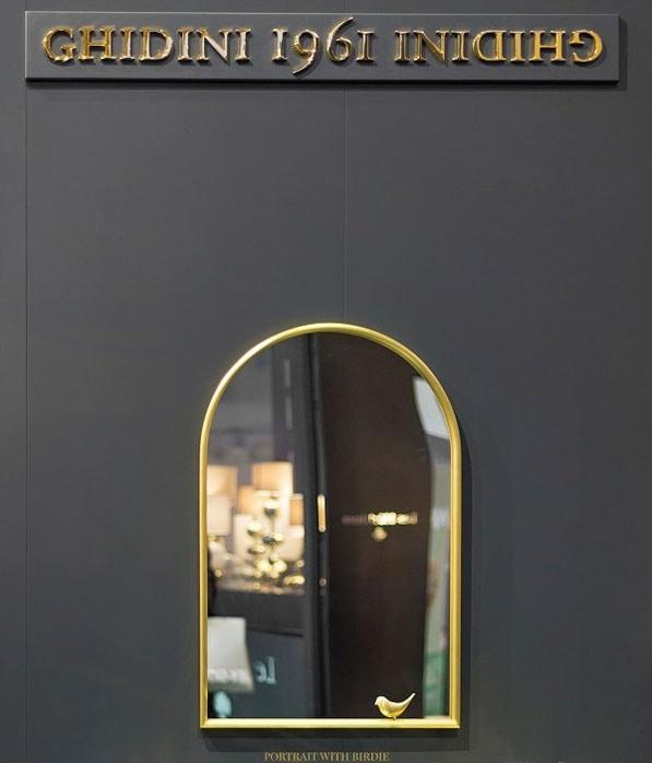 Portrait, Mirror with brass frame