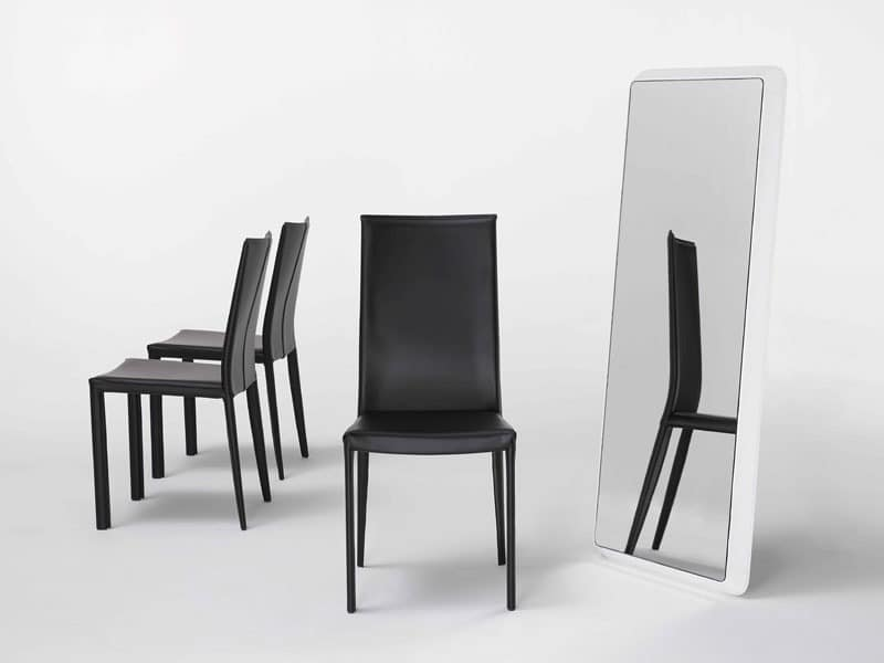 Reflex G, Wall mirror, leather-covered, for sliving room