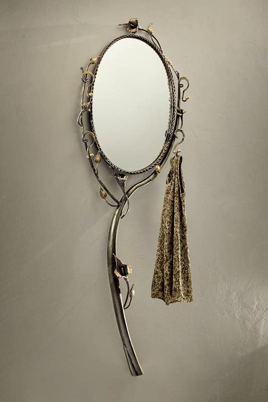 SP/320, Round mirror with frame in wrought iron