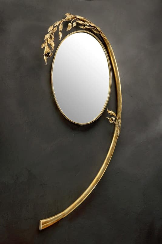 SP/330, Round mirror with arched frame in wrought iron