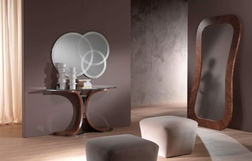 SP24 Morfeo mirror, Mirror in canaletto walnut, for entrance rooms