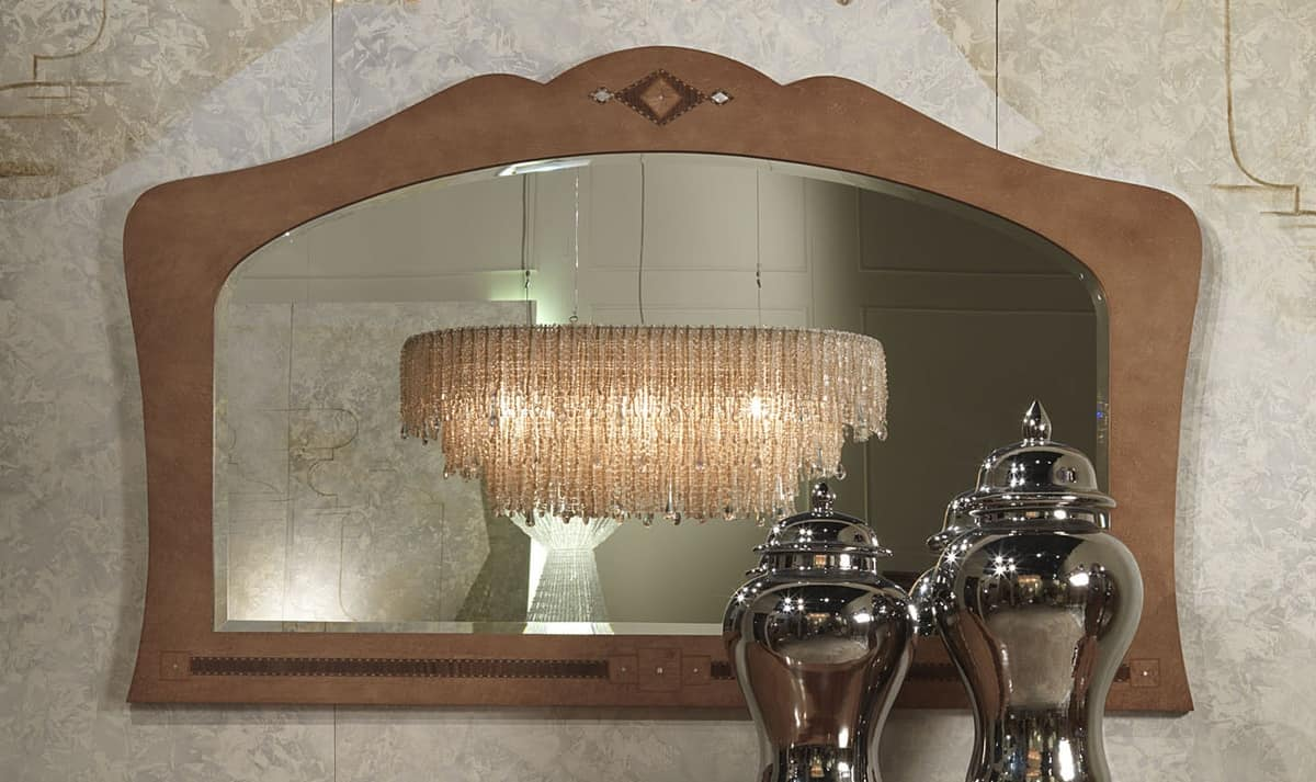 SP34 Charme mirror, Mirror in inlaid wood, for hotels and restaurants