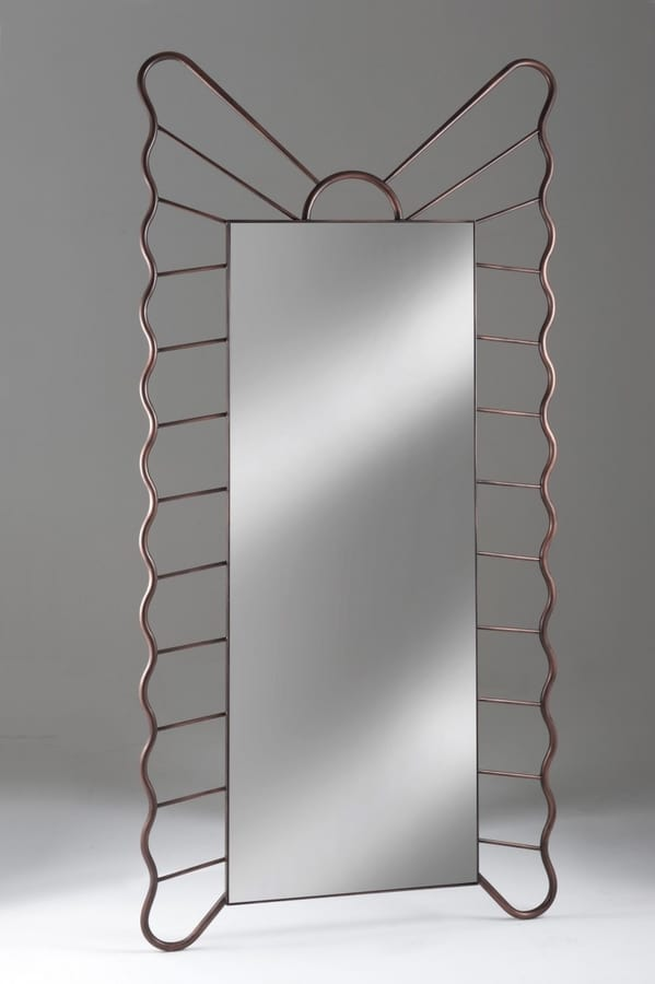 Specchiera Filicudi, Rectangular mirror with forged iron frame