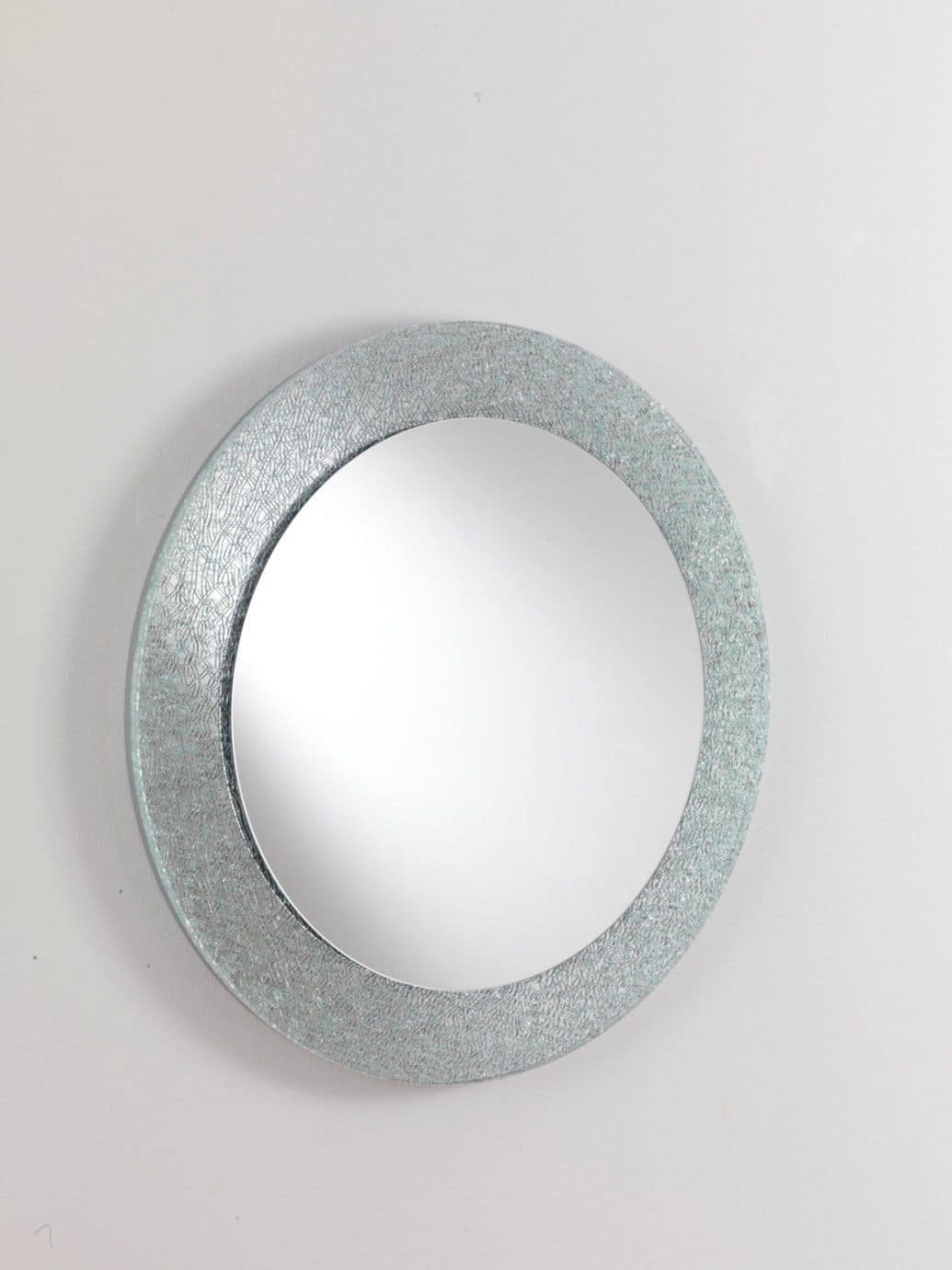 Specchio 01, Round mirror, with glass frame, for modern furnishing