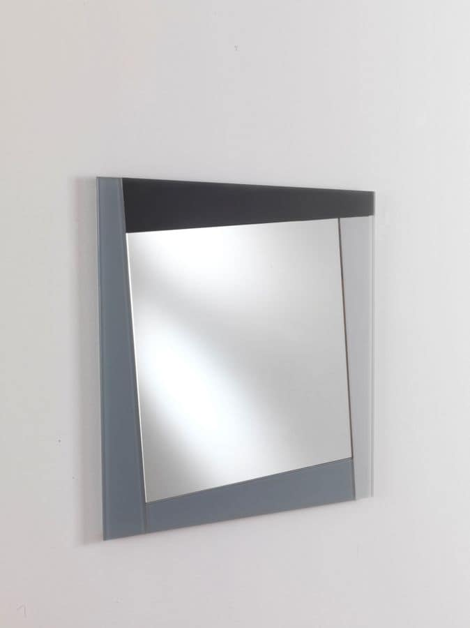 Specchio 02, Modern rectangular mirror, with colored frame