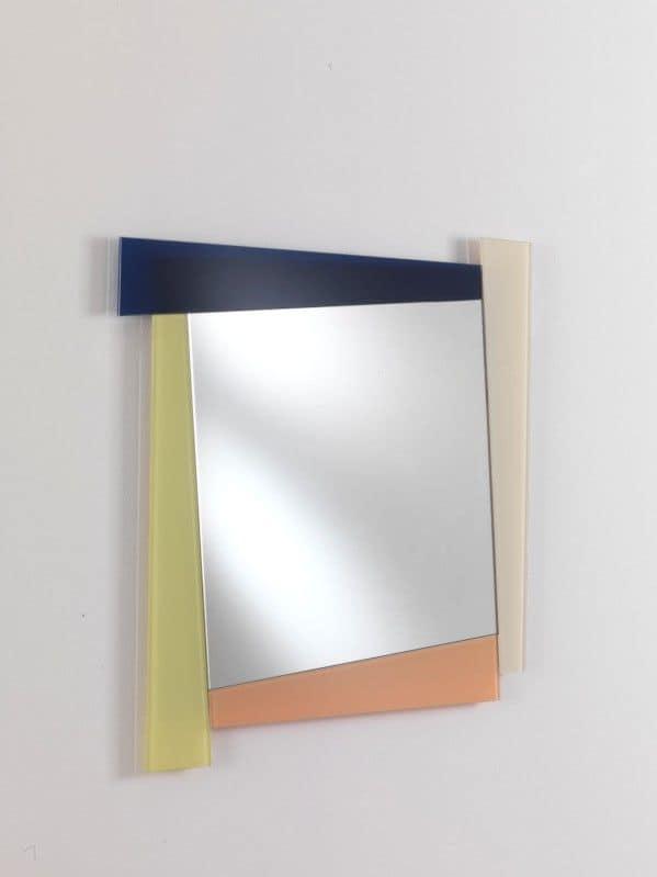 Specchio 03, Square mirror with colored frame