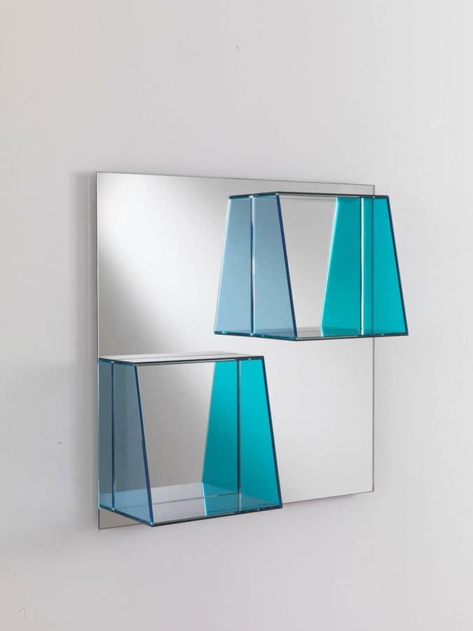 Specchio 04, Square mirror with glass shelves